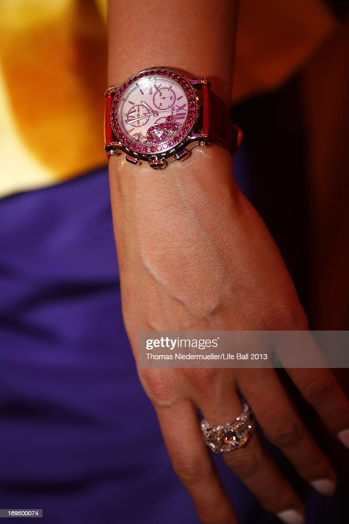 Anna Netrebko wears a special watch designed by Chopard during the 'AIDS Solidarity Gala 2013' at Hofburg Vienna on May 25, 2013 in Vienna, Austria.
