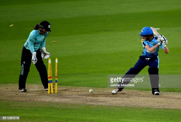 Anna Nicholls of Yorkshire is bowled by Natalie Sciver of Surrey during the Kia Super League match between Surrey Stars and Yorkshire Diamonds at The...