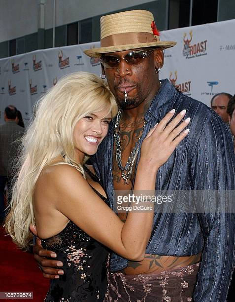 Anna Nicole Smith and Dennis Rodman during Comedy Central Roast of Pamela Anderson Arrivals at Sony Studios in Culver City California United States