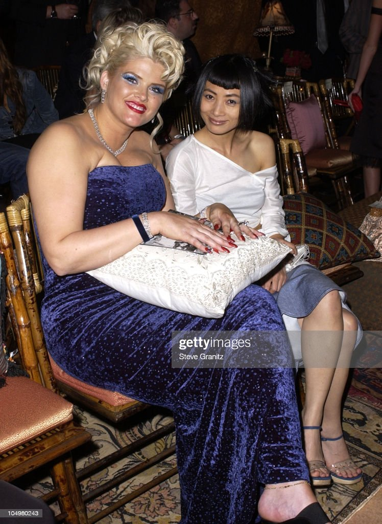 <a gi-track='captionPersonalityLinkClicked' href=/galleries/search?phrase=Anna+Nicole+Smith&family=editorial&specificpeople=156420 ng-click='$event.stopPropagation()'>Anna Nicole Smith</a> & <a gi-track='captionPersonalityLinkClicked' href=/galleries/search?phrase=Bai+Ling&family=editorial&specificpeople=201459 ng-click='$event.stopPropagation()'>Bai Ling</a> during Vanity Fair Toasts Guess? In Celebration Of The Dream Denim Makers 20th Anniversary at The Wilshire Ebell Theatre in Los Angeles, California, United States.