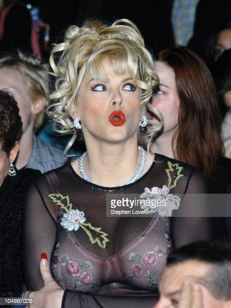 Anna Nicole Smith during Olympus Fashion Week Fall 2004 Betsey Johnson Front Row at Bryant Park in New York City New York United States