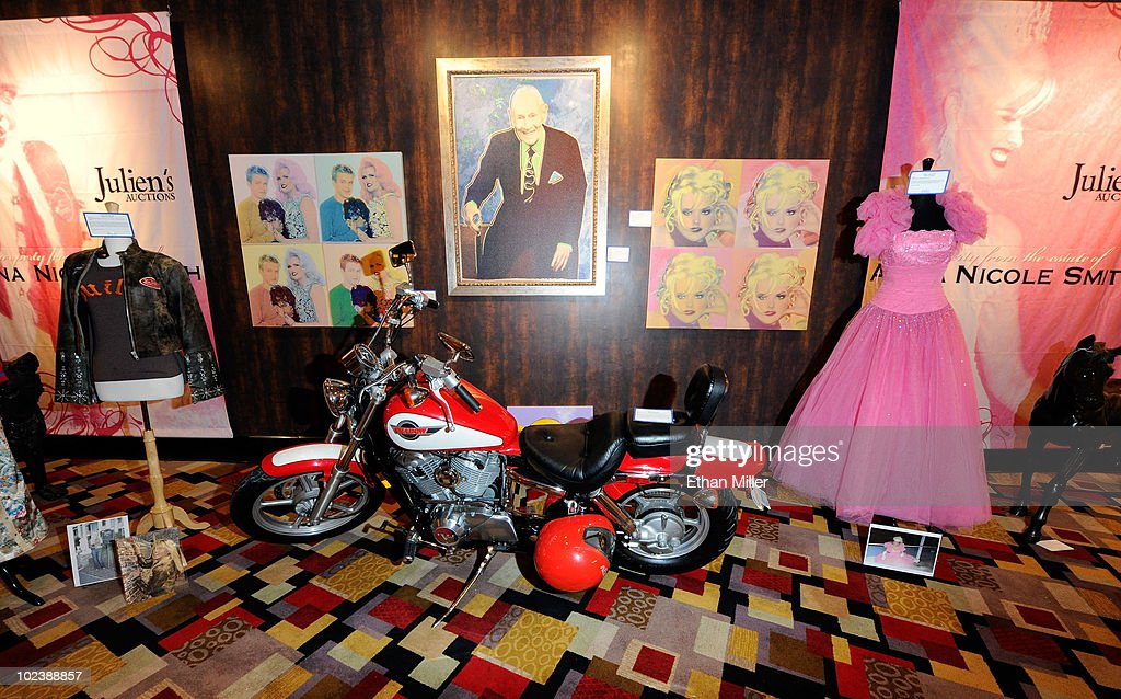 Anna Nicole Smith items, including a 1993 Honda Shadow motorcycle, are displayed at Julien's Auctions annual summer sale at the Planet Hollywood Resort & Casino June 24, 2010 in Las Vegas, Nevada. The auction, which continues through Sunday, features 1,600 items from entertainers including Michael Jackson, Anna Nicole Smith, Marilyn Monroe, Cher, Elvis Presley and Star Trek creator Gene Roddenberry. Part of the proceeds from Smith's auction items will be used to help in the upbringing her daughter Dannielynn Birkhead.