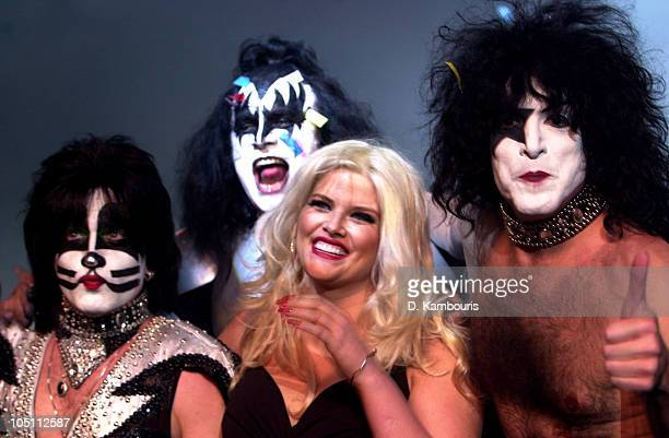 Anna Nicole Smith with Kiss during 'The Big Kiss' Lane Bryant's '02 Lingerie Fashion Show at Roseland in New York City New York United States