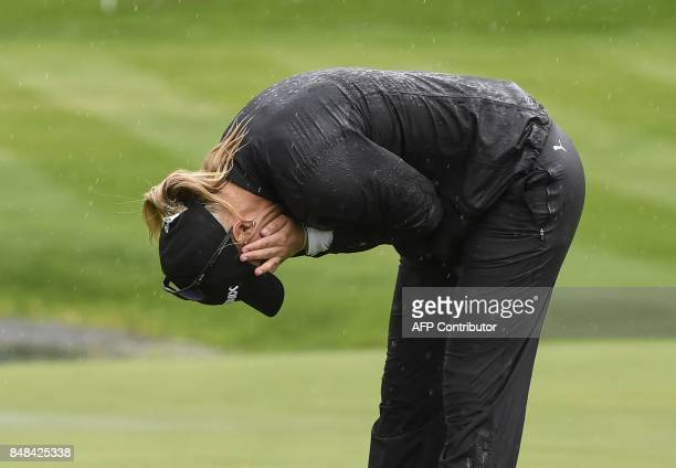 Anna Nordqvist from Sweden reacts after winning the Evian Championship on September 17 2017 during in the French Alps town of EvianlesBains a major...