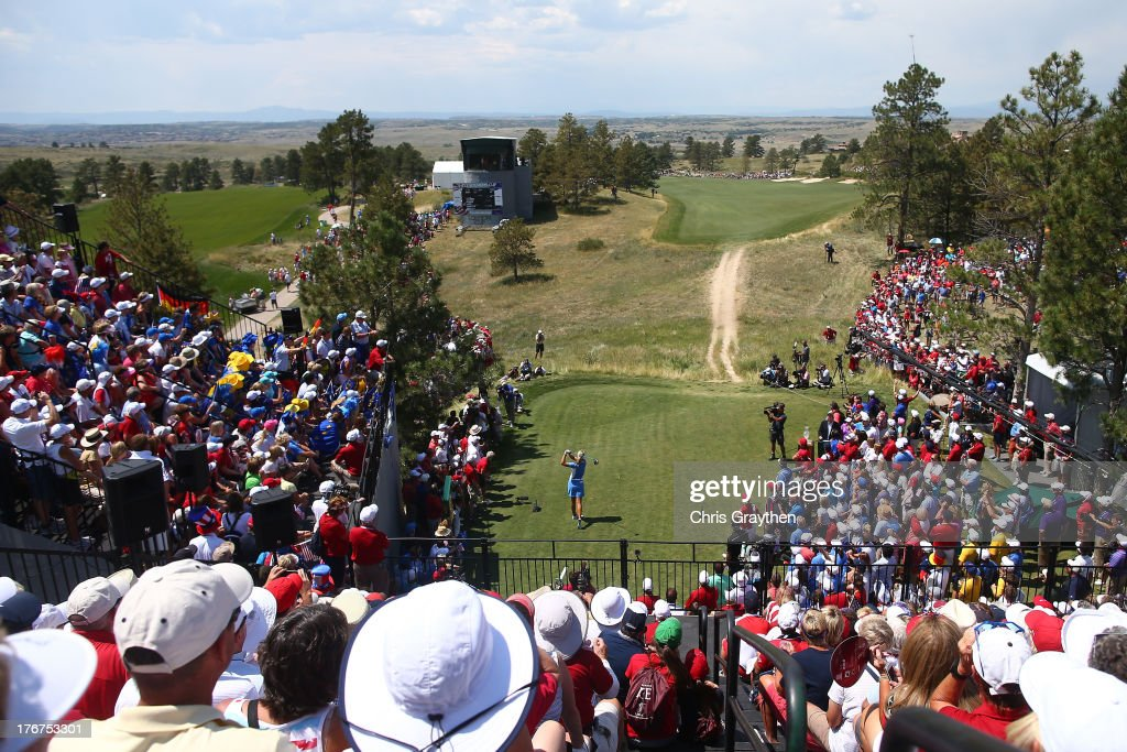 Anna Nordqvist of Sweden and the European Team hits her tee shot on the first hole during the final day singles matches of the 2013 Solheim Cup on...