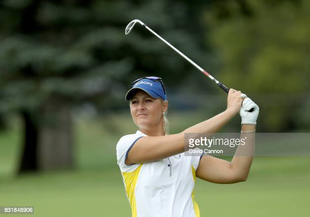 Anna Nordqvist of Sweden and the European Team in action during practice for the 2017 Solheim Cup Matches at Des Moines Country Club on August 15...