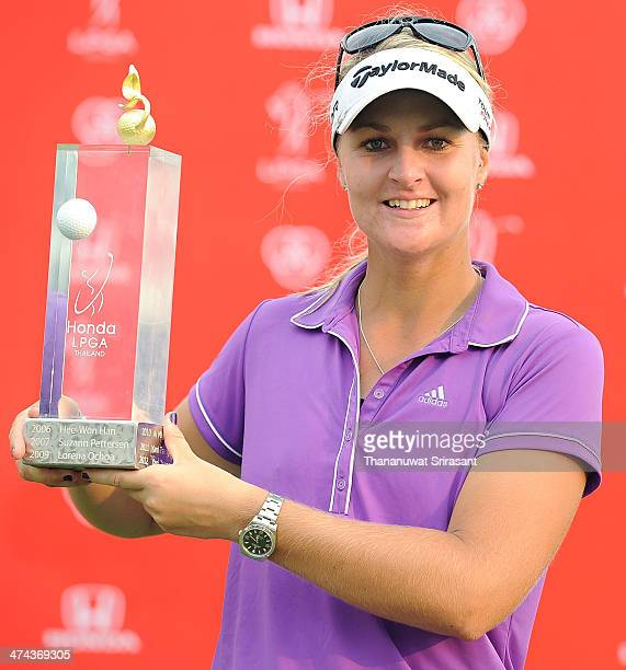 Anna Nordqvist of Sweden celebrates her trophy after win the Honda LPGA on February 23 2014 in Chonburi Thailand