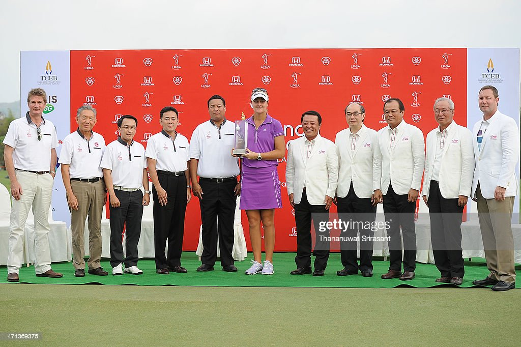 Anna Nordqvist of Sweden celebrates her trophy with sponsor after the Honda LPGA on February 23 2014 in Chonburi Thailand