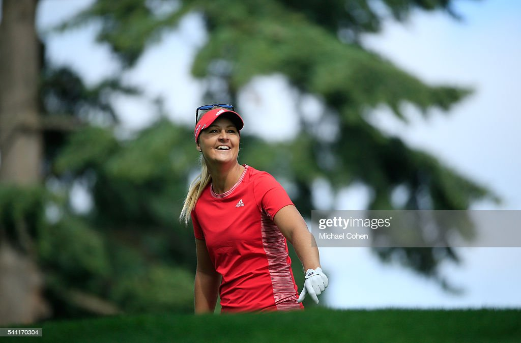 <a gi-track='captionPersonalityLinkClicked' href=/galleries/search?phrase=Anna+Nordqvist&family=editorial&specificpeople=2259645 ng-click='$event.stopPropagation()'>Anna Nordqvist</a> of Sweden has a laugh before hitting her second shot on the 17th hole during the second round of the Cambia Portland Classic held at Columbia Edgewater Country Club on July 1, 2016 in Portland, Oregon.