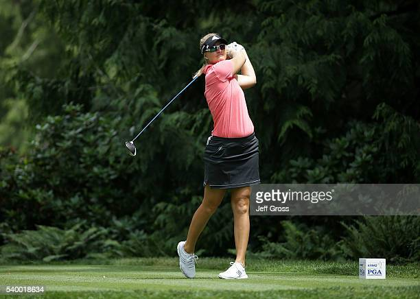 Anna Nordqvist of Sweden hits a shot during the final round of the KPMG Women's PGA Championship at Sahalee Country Club on June 12 2016 in Sammamish...