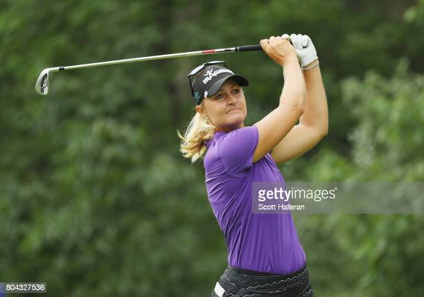 Anna Nordqvist of Sweden hits a tee shot on the seventh hole during the second round of the 2017 KPMG Women's PGA Championship at Olympia Fields...