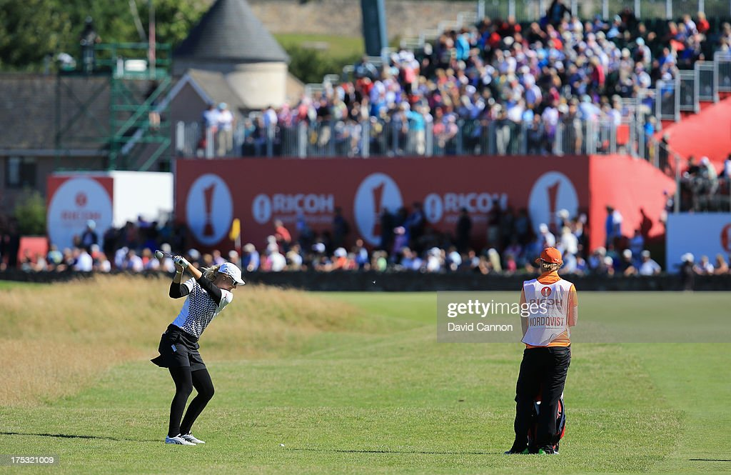 <a gi-track='captionPersonalityLinkClicked' href=/galleries/search?phrase=Anna+Nordqvist&family=editorial&specificpeople=2259645 ng-click='$event.stopPropagation()'>Anna Nordqvist</a> of Sweden hits her 2nd shot on the 17th hole during the second round of the Ricoh Women's British Open at the Old Course, St Andrews on August 2, 2013 in St Andrews, Scotland.