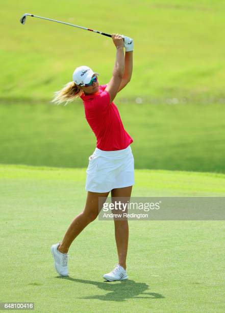 Anna Nordqvist of Sweden hits her second shot on the fifth hole during the final round of the HSBC Women's Champions on the Tanjong Course at Sentosa...