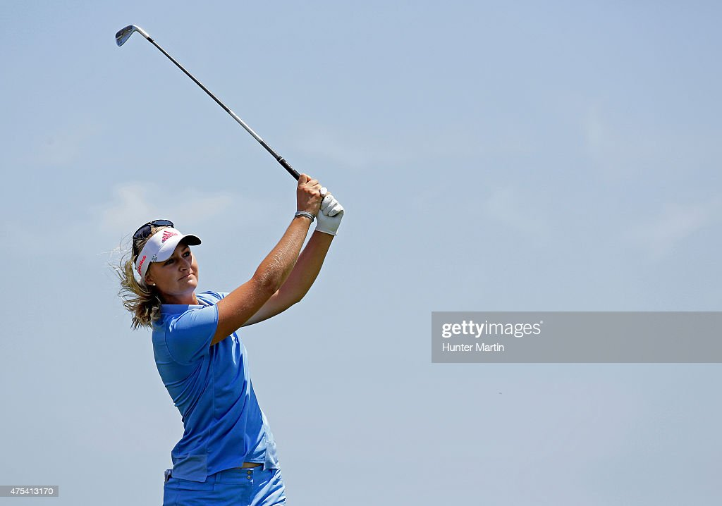 Anna Nordqvist of Sweden hits her second shot on the third hole during the final round of the ShopRite LPGA Classic presented by Acer on the Bay...