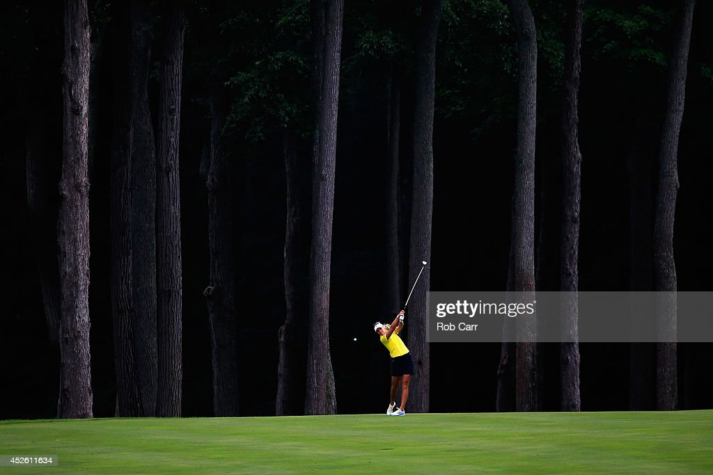 Anna Nordqvist of Sweden hits her second shot to the 4th hole during round one of the International Crown on July 24 2014 in Owings Mills Maryland