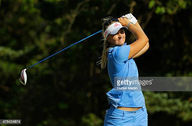 Anna Nordqvist of Sweden hits her tee shot on the 16th hole during the final round of the ShopRite LPGA Classic presented by Acer on the Bay Course...