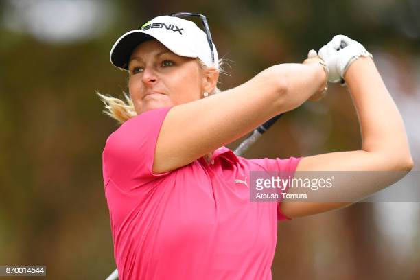 Anna Nordqvist of Sweden hits her tee shot on the 18th hole during the second round of the TOTO Japan Classics 2017 at the Taiheiyo Club Minori...