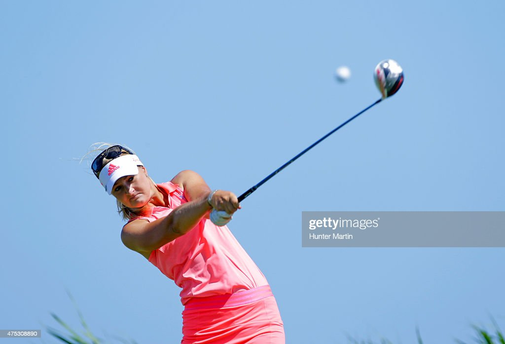 Anna Nordqvist of Sweden hits her tee shot on the third hole during the second round of the ShopRite LPGA Classic presented by Acer on the Bay Course...