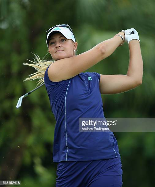 Anna Nordqvist of Sweden hits her teeshot on the second hole during the first round of the HSBC Women's Champions at Sentosa Golf Club on March 3...