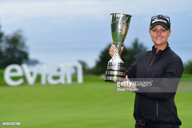 Anna Nordqvist of Sweden holds the trophy after winning during the play off after the final round of The Evian Championship at Evian Resort Golf Club...