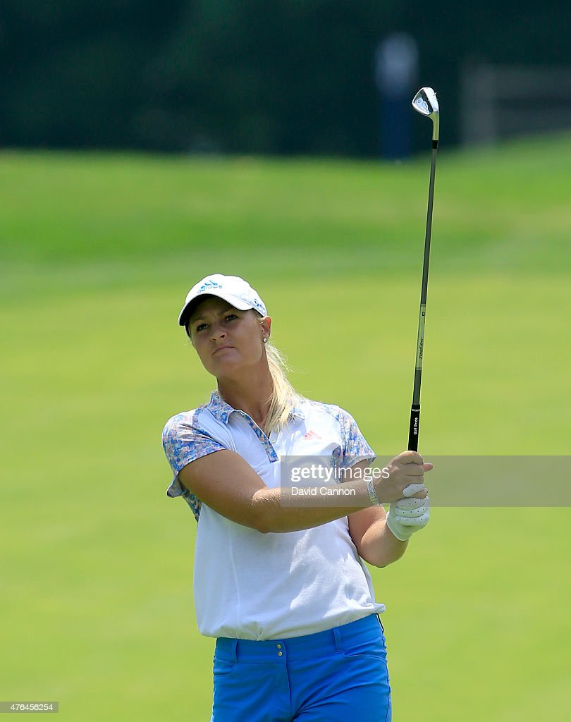Anna Nordqvist of Sweden in action during the proam as a preview for the 2015 KPMG Women's PGA Championship on the West Course at Westchester Country...