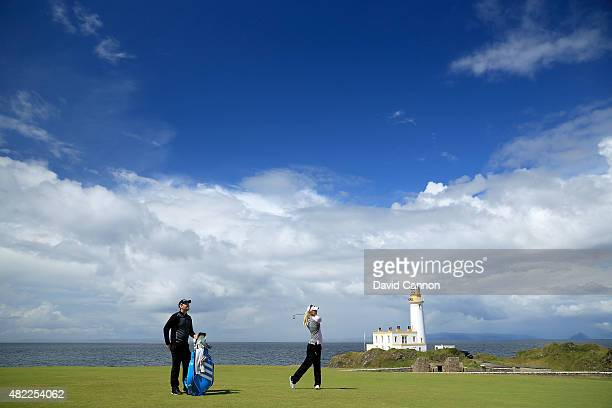 Anna Nordqvist of Sweden in action on the ninth hole during her final practice round as a preview for the 2015 Ricoh Women's British Open on the...