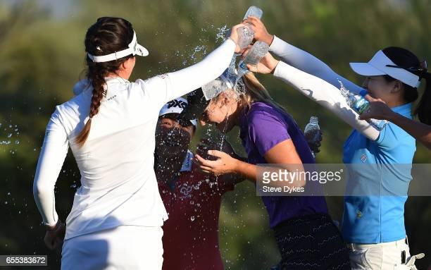 Anna Nordqvist of Sweden is doused with water by fellow golfers after winning the Bank of Hope Founders Cup at Wildfire Golf Club at the JW Marriott...