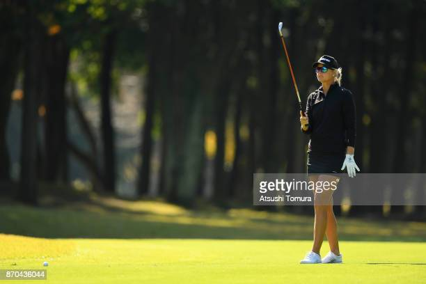 Anna Nordqvist of Sweden lines up a second shot on the 9th hole during the final round of the TOTO Japan Classics 2017 at the Taiheiyo Club Minori...