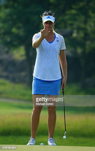 Anna Nordqvist of Sweden lines up her putt for birdie on the eighth green during the first round of the KPMG Women's PGA Championship held at...