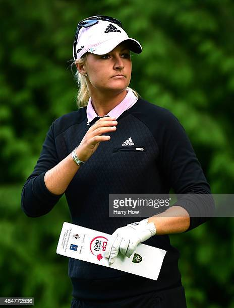 Anna Nordqvist of Sweden lines up her shot on the 12th hole during the second round of the Canadian Pacific Women's Open at the Vancouver Golf Club...