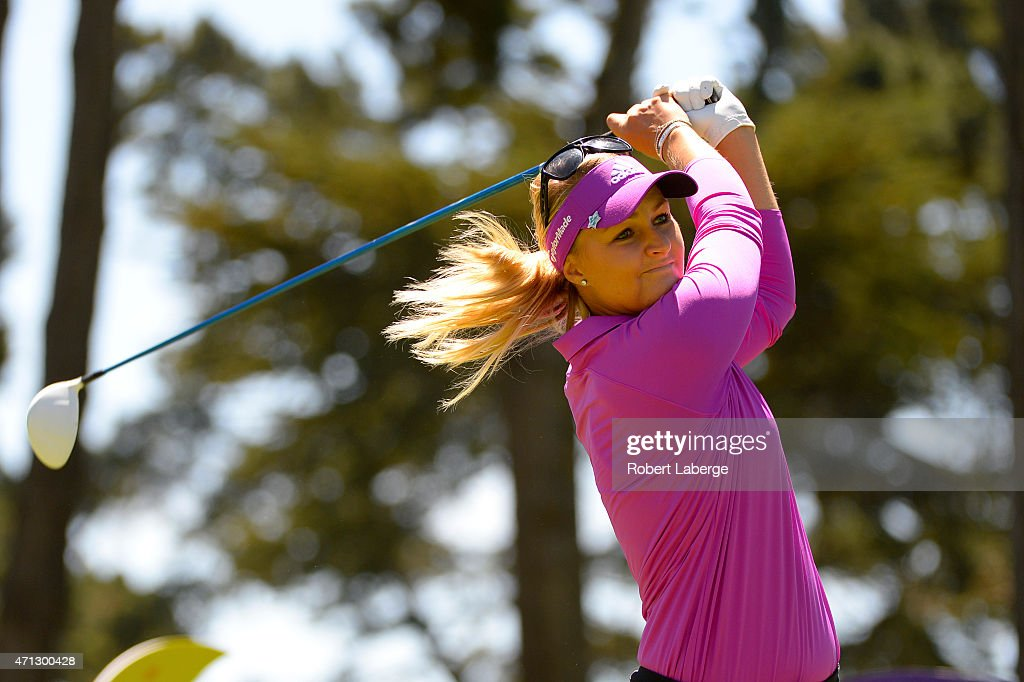 Anna Nordqvist of Sweden makes a tee shot on the second hole during the final round of the Swinging Skirts LPGA Classic presented by CTBC at the Lake...