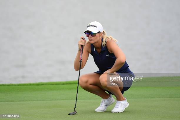 Anna Nordqvist of Sweden plays a shot during the Blue Bay LPGA at Jian Lake Blue Bay golf course on November 8 2017 in Hainan Island China