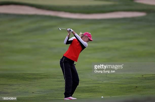 Anna Nordqvist of Sweden plays a shot during the second round of LPGA KEBHanaBank Championship at Sky 72 Golf Club Ocean Course on October 19 2013 in...
