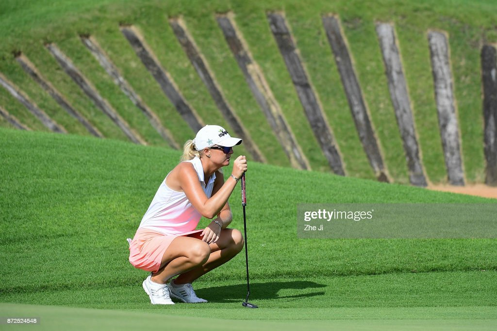 Anna Nordqvist of Sweden plays a shot on the 9th hole during the third round of the Blue Bay LPGA at Jian Lake Blue Bay golf course on November 10, 2017 in Hainan Island, China.