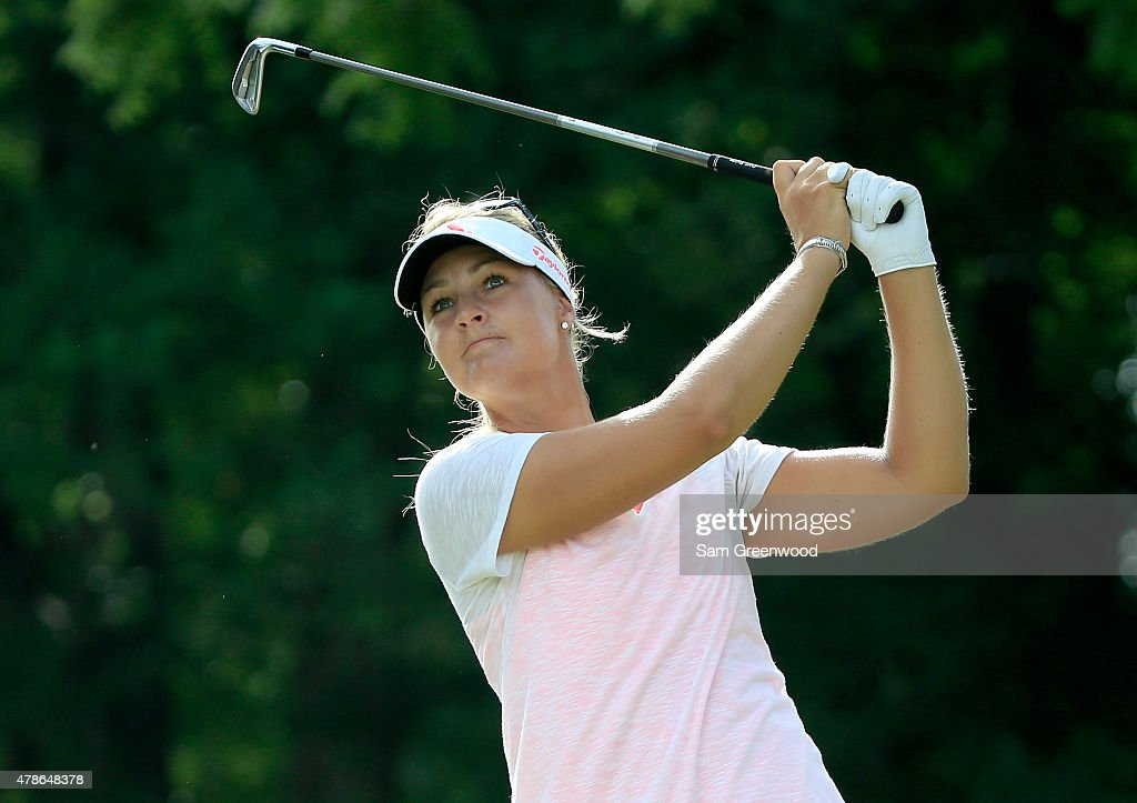 Anna Nordqvist of Sweden plays a shot on the third hole during the first round of the Walmart NW Arkansas Championship Presented by PG at Pinnacle...