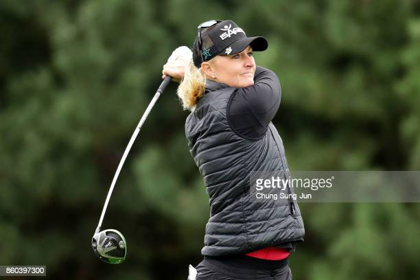 Anna Nordqvist of Sweden plays a tee shot on the 2nd hole during the first round of the LPGA KEB Hana Bank Championship at the Sky 72 Golf Club Ocean...