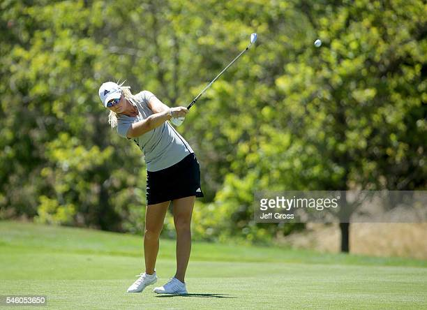 Anna Nordqvist of Sweden plays her second shot from the 18th fairway during the final round of the US Women's Open at the CordeValle Golf Club on...