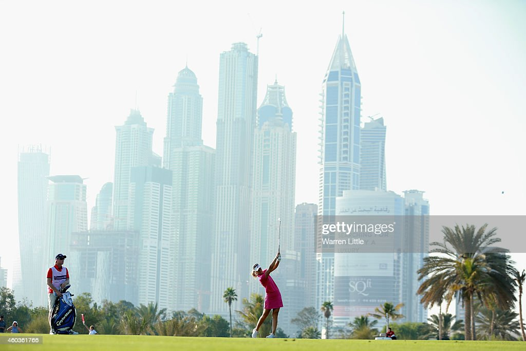 Anna Nordqvist of Sweden plays her second shot into the 13th green during the third round of the Omega Dubai Ladies Masters on the Majlis Course at...