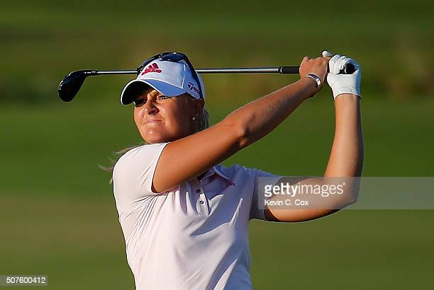 Anna Nordqvist of Sweden plays her second shot on the 18th hole during the third round of the Pure Silk Bahamas LPGA Classic at the Ocean Club Golf...