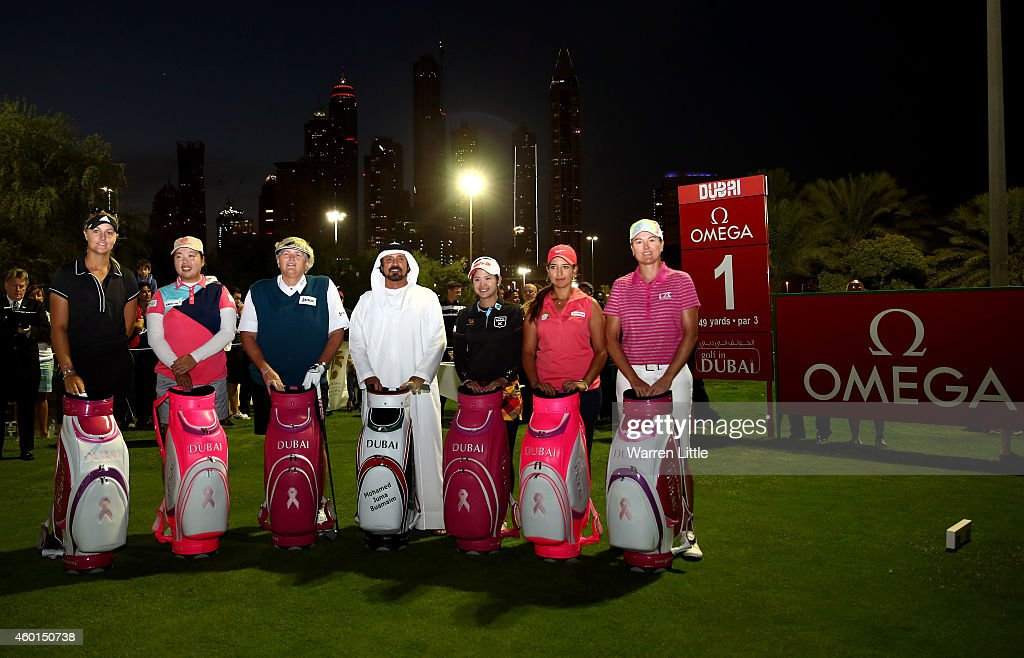 Anna Nordqvist of Sweden Pornanong Phatlum of Thailand Laura Davies of England Mohamed Juma Buamaim the Vice Chairman and CEO of Golf in Dubai...