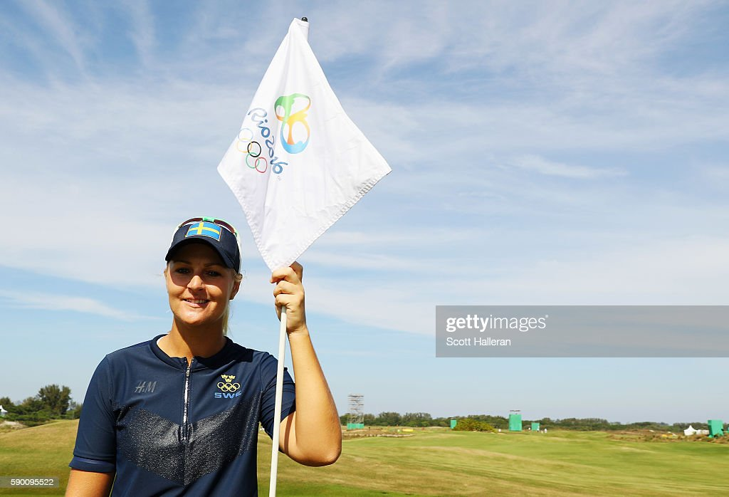 Anna Nordqvist of Sweden poses during a practice round prior to the start of the women's golf during Day 11 of the Rio 2016 Olympic Games at Olympic...