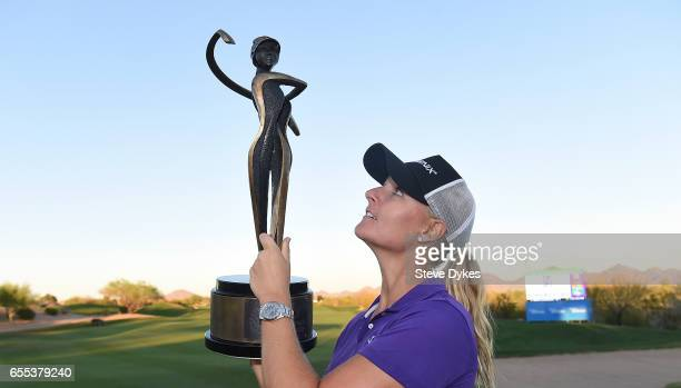 Anna Nordqvist of Sweden poses with the trophy after winning the Bank Of Hope Founders Cup at Wildfire Golf Club at the JW Marriott Desert Ridge...