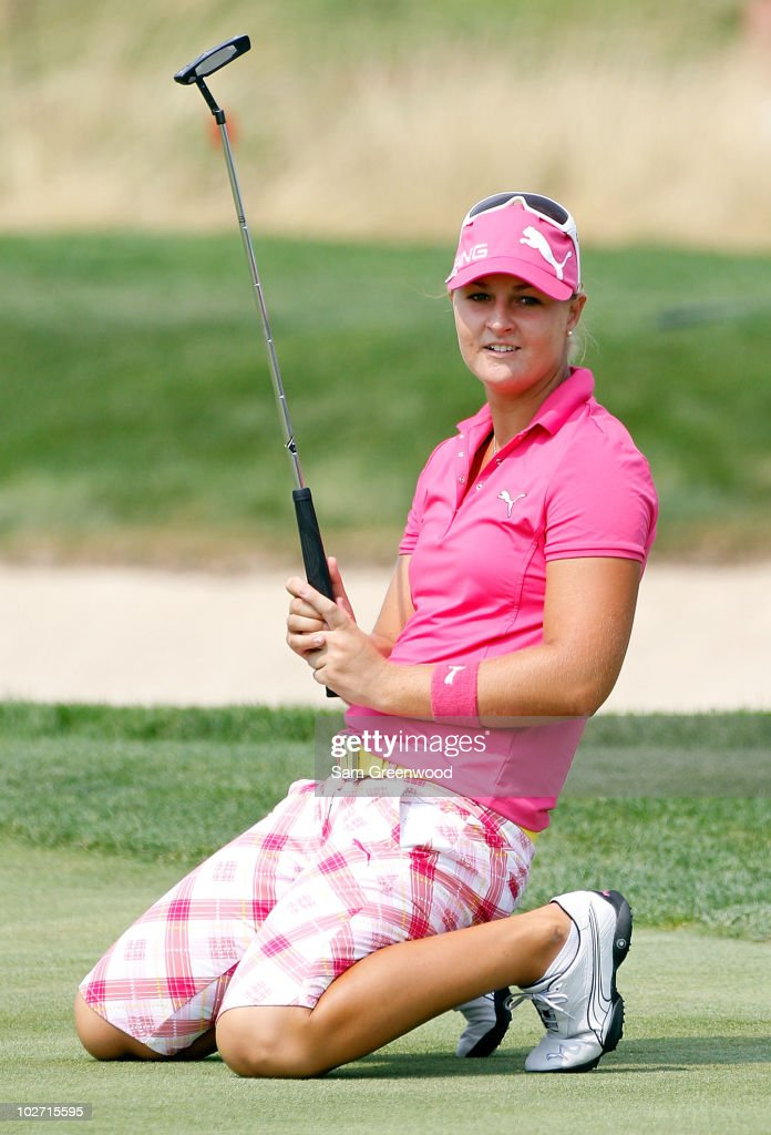 Anna Nordqvist of Sweden reacts to a shot on the 8th hole during the first round of the 2010 US Women's Open at Oakmont Country Club on July 8 2010...