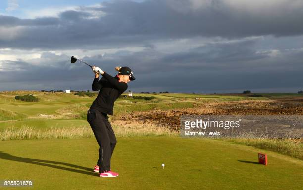 Anna Nordqvist of Sweden tees off on the 2nd hole during the first round of the Ricoh Women's British Open at Kingsbarns Golf Links on August 3 2017...