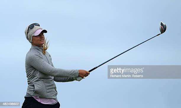 Anna Nordqvist of Sweden tees off on the 9th hole during the Second Round of the Ricoh Women's British Open at Turnberry Golf Club on July 31 2015 in...