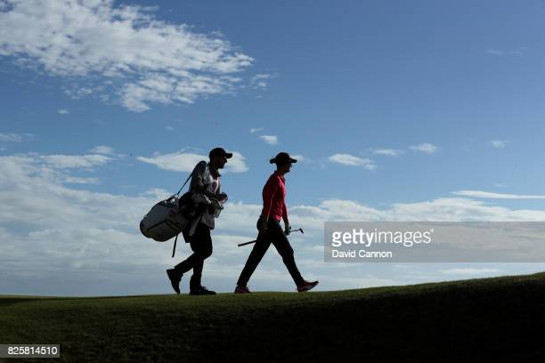 Anna Nordqvist of Sweden walks on the 4th hole during the first round of the Ricoh Women's British Open at Kingsbarns Golf Links on August 3 2017 in...