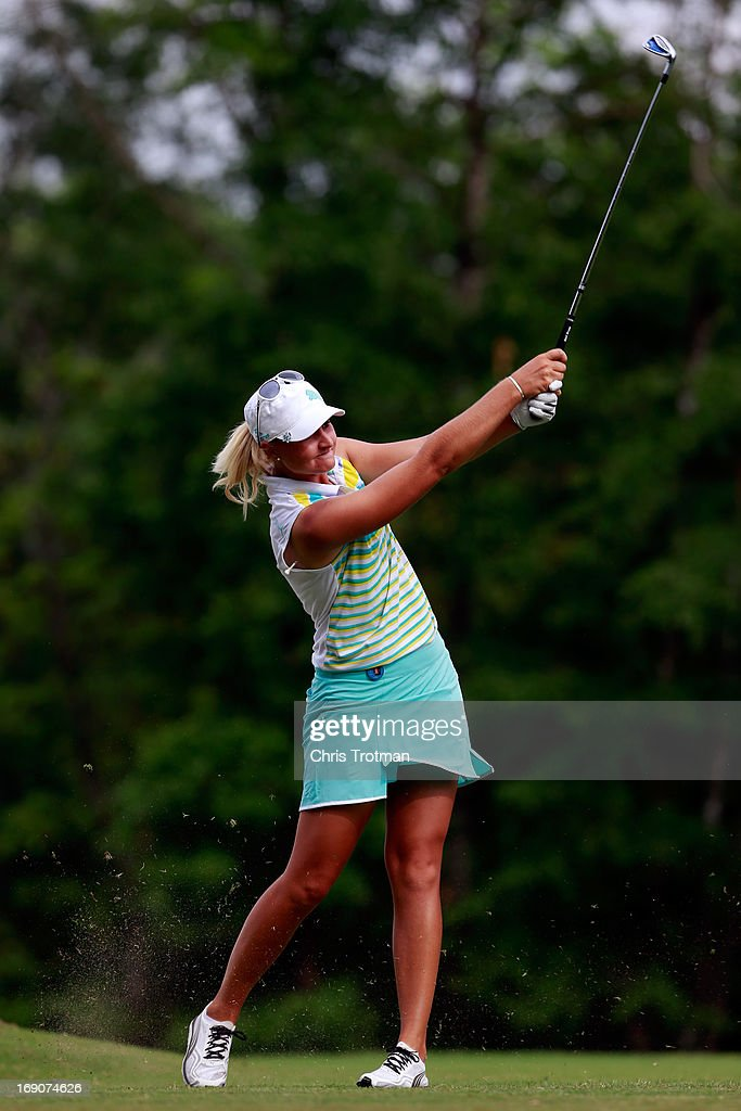 <a gi-track='captionPersonalityLinkClicked' href=/galleries/search?phrase=Anna+Nordqvist&family=editorial&specificpeople=2259645 ng-click='$event.stopPropagation()'>Anna Nordqvist</a> of Sweden watches her drive on the 14th hole during the final round of the Mobile Bay LPGA Classic at the Crossings Course at the Robert Trent Jones Trail at Magnolia Grove on May 19, 2013 in Mobile, Alabama.