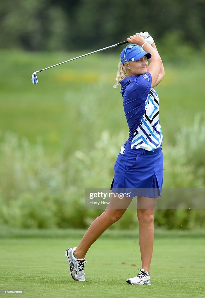 <a gi-track='captionPersonalityLinkClicked' href=/galleries/search?phrase=Anna+Nordqvist&family=editorial&specificpeople=2259645 ng-click='$event.stopPropagation()'>Anna Nordqvist</a> of Sweden watches her second shot on the 16th hole during round one of the Manulife Financial LPGA Classic at the Grey Silo Golf Course on July 11, 2013 in Waterloo, Canada.