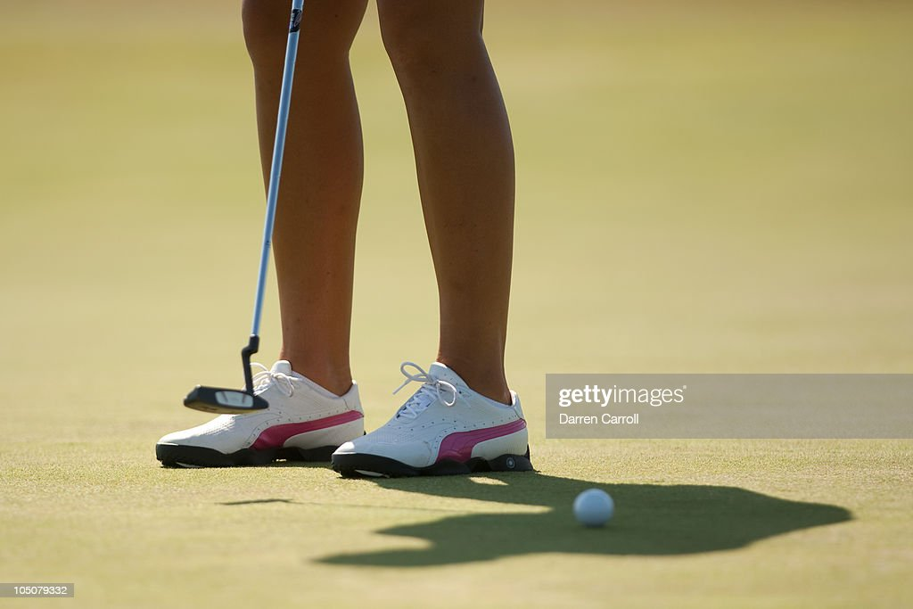 Anna Nordqvist of Sweden wears pinktrimmed shoes to commemorate Breast Cancer Awareness Month during the second round of the Navistar LPGA Classic at...