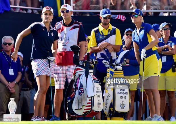 Anna Nordqvist of Team Europe and Lexi Thompson of Team USA wait to play each other on the first tee during the final day singles matches of the...